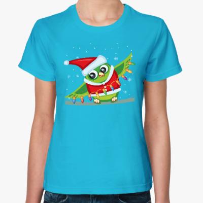 Женская футболка Сова с гирляндой