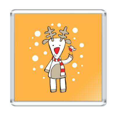 Магнит Олень и снегирь в Новый год