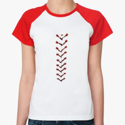 Женская футболка реглан  со ``шнуровкой``