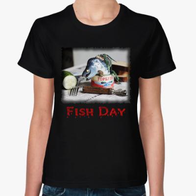 Женская футболка Рыбный день. Горбуша