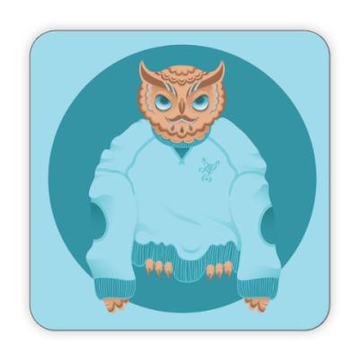 Костер (подставка под кружку) Animal Fashion | O is for Owl in Oversized sweater