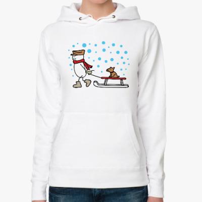 Женская толстовка худи Снеговик и Собака в Новый год