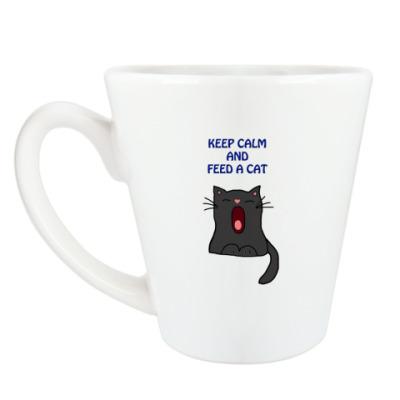 Чашка Латте Keep calm and feed a cat