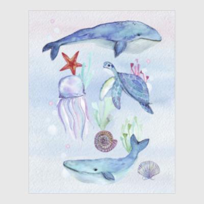 Постер Акварельный подводный мир