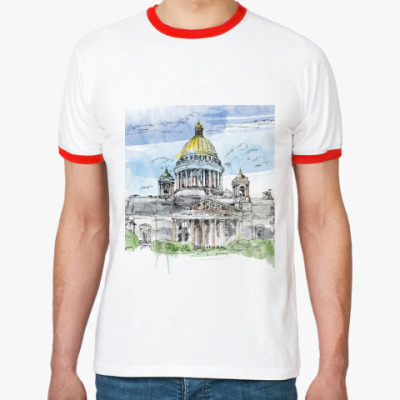 Футболка Ringer-T Исаакиевский собор . Питер