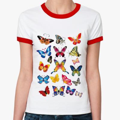 Женская футболка Ringer-T Много бабочек