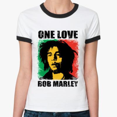 Женская футболка Ringer-T  'Bob Marley'
