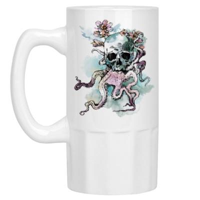Пивная кружка Череп-кальмар