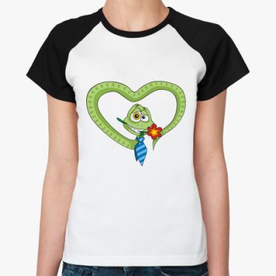 Женская футболка реглан Змей