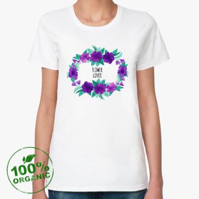 Женская футболка из органик-хлопка Венок акварель Flower lover