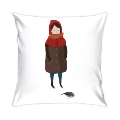 Подушка Девочка с птицей