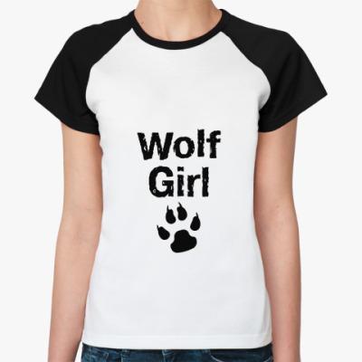 Женская футболка реглан Wolf girl