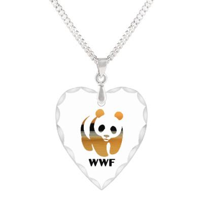 Кулон 'сердце' WWF. Панда. Закат в пустыне