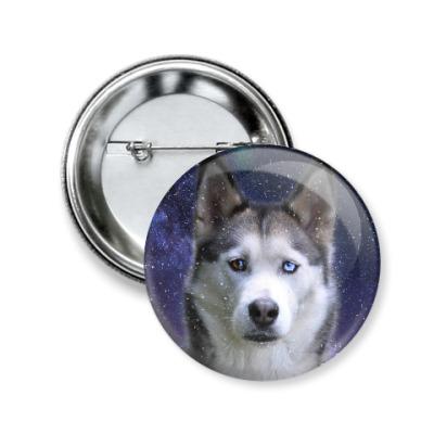 Значок 50мм Снежный пес