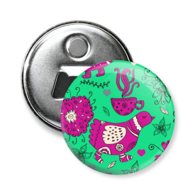 Магнит-открывашка Птицы, цветы и чай