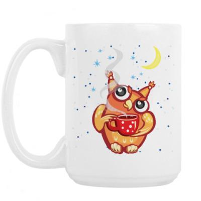 Кружка Сова с чаем и снежинками