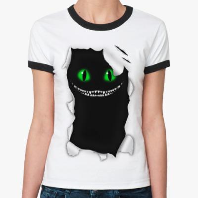 Женская футболка Ringer-T  'Чеширский кот'