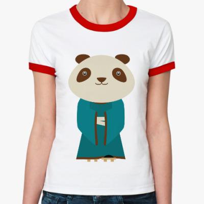 Женская футболка Ringer-T Панда в кимоно