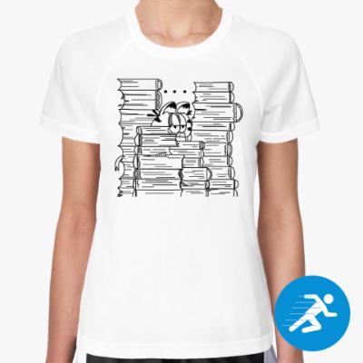 Женская спортивная футболка Гарфилд в книгах
