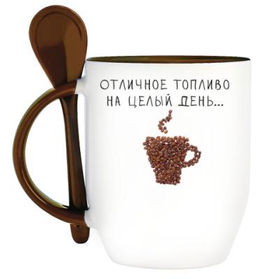 Кружка с ложкой Любителям кофе