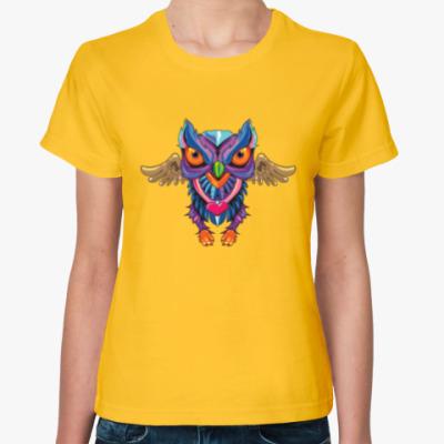Женская футболка old school сова