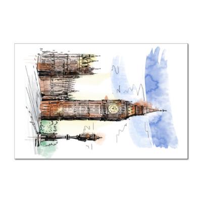Наклейка (стикер) Биг-Бен -Big Ben-Англия-Лондон