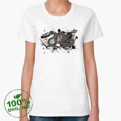 Женская футболка из органик-хлопка Чёрный дракон