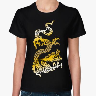 Женская футболка Золотой дракон