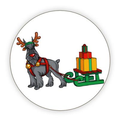 Костер (подставка под кружку) Новогодний Шнауцер