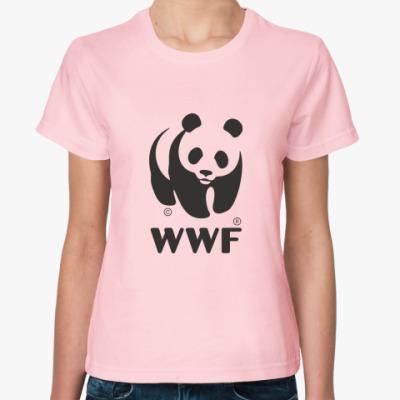 Женская футболка WWF. Панда с лого