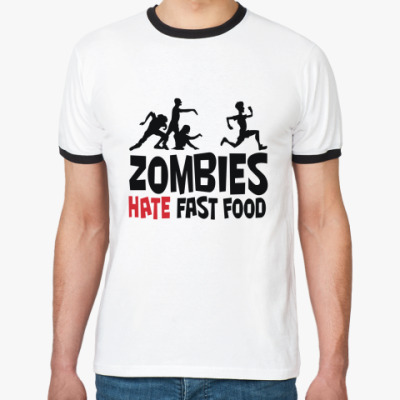 Футболка Ringer-T Zombies hate fast food