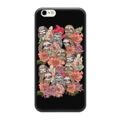 Чехол для iPhone 6/6s Ленивцы в цветах