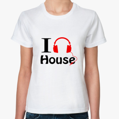 Классическая футболка I love house music
