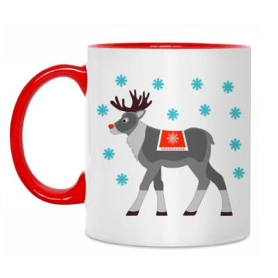 Кружка Reindeer and snowflakes