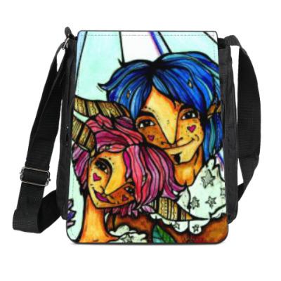 Сумка-планшет Пара с розово-голубыми волосам