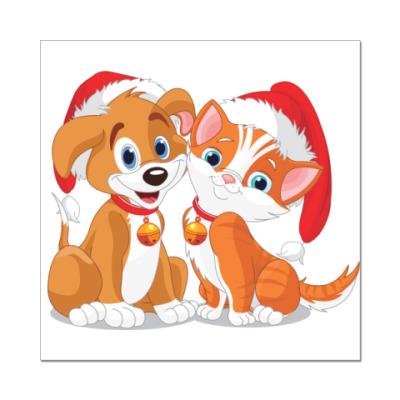 Наклейка (стикер) Два новогодних друга