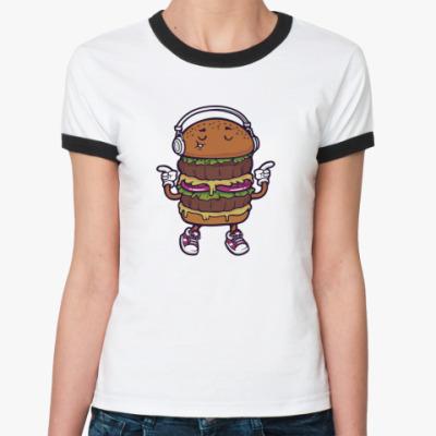 Женская футболка Ringer-T Двойной музыкальный бургер