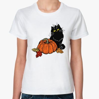 Классическая футболка Кот и тыква