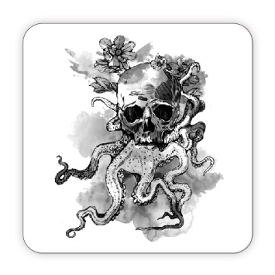 Костер (подставка под кружку) Череп-кальмар