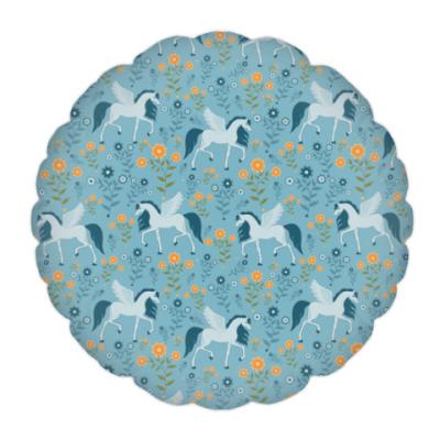 Подушка Пегас и цветы