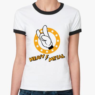 Женская футболка Ringer-T Mouse Metal (бел/чёрн)