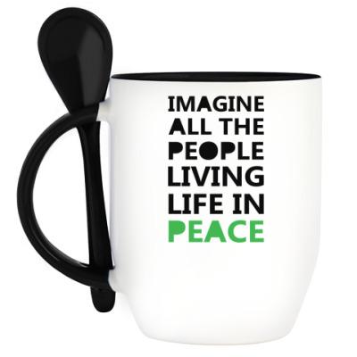 Кружка с ложкой Imagine All the People
