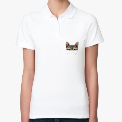 Женская рубашка поло Котик в кармашке
