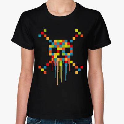 Женская футболка Пиксельный Череп