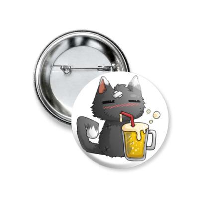 Значок 37мм Пьющий кот