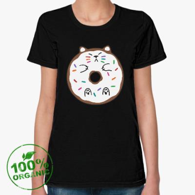 Женская футболка из органик-хлопка Кот пончик