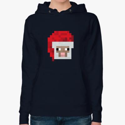 Женская толстовка худи Знаменитая овечка из Minecraft