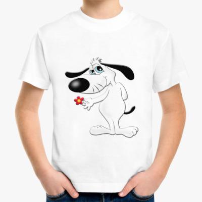 Детская футболка Собачка с цветком