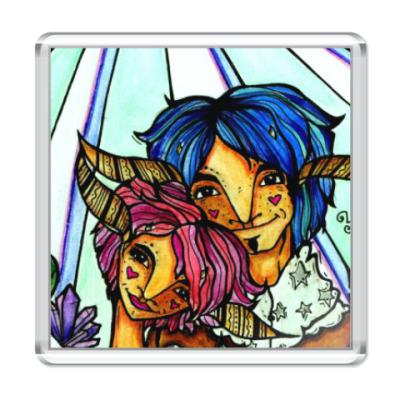 Магнит Пара с розово-голубыми волосам