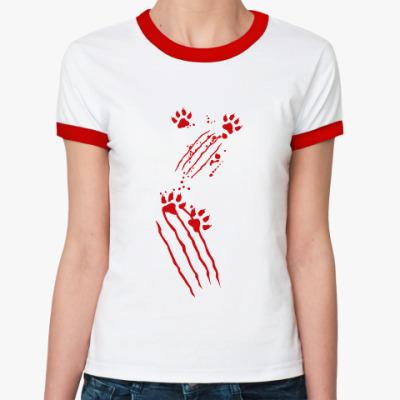 Женская футболка Ringer-T Нападение кота
